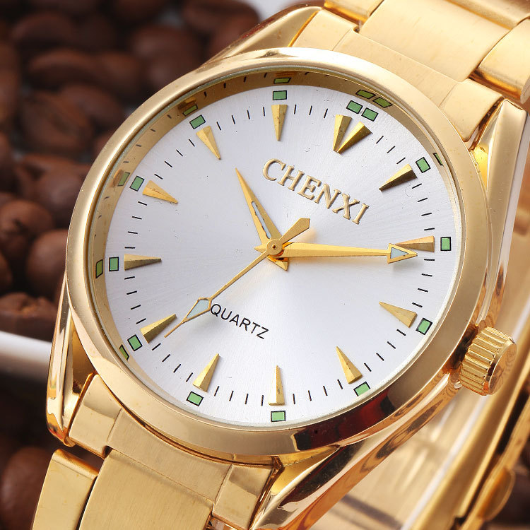 CHENXI Men Gold Watch Male Stainless Steel Quartz Golden men&39;s Wristwatches for Man Top Brand Luxury Quartz-Watches Gift Clock