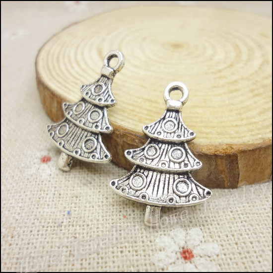 65pcs Vintage Charms Christmas tree Pendant Antique silver Fit Bracelets Necklace DIY Metal Jewelry Making