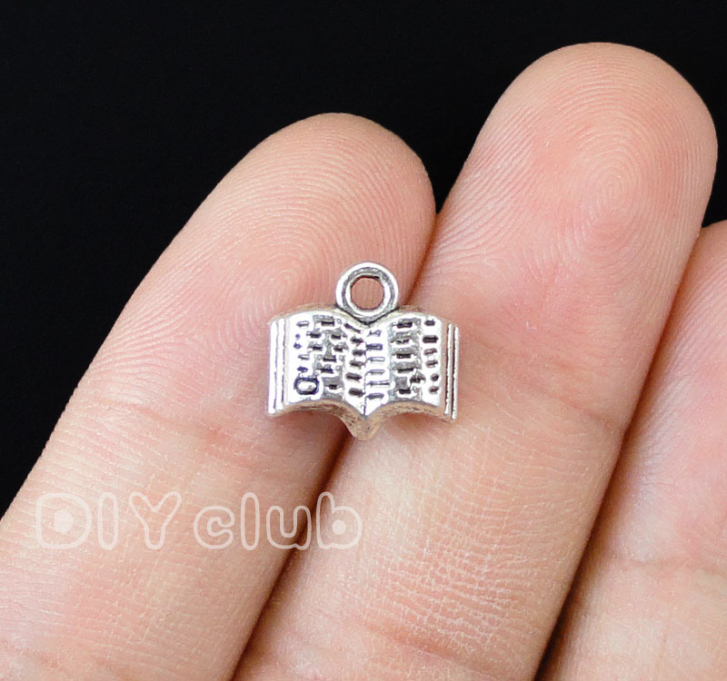 100pcs-Antique Gümüş Açık Kitap Charms Kolye 12x11mm