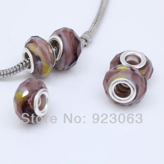 50 adet/grup Işık Mor ve Sarı Murano Cam Lampwork Faceted Rondelle Spacer Big Hole Charms Boncuk Fit Avrupa Bilezik