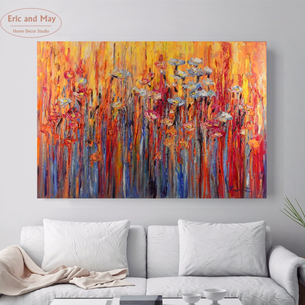 Modern Flower Paintings Vintage Canvas Art Print Poster Wall Pictures For Living Room Home Decorative Decor No Frame