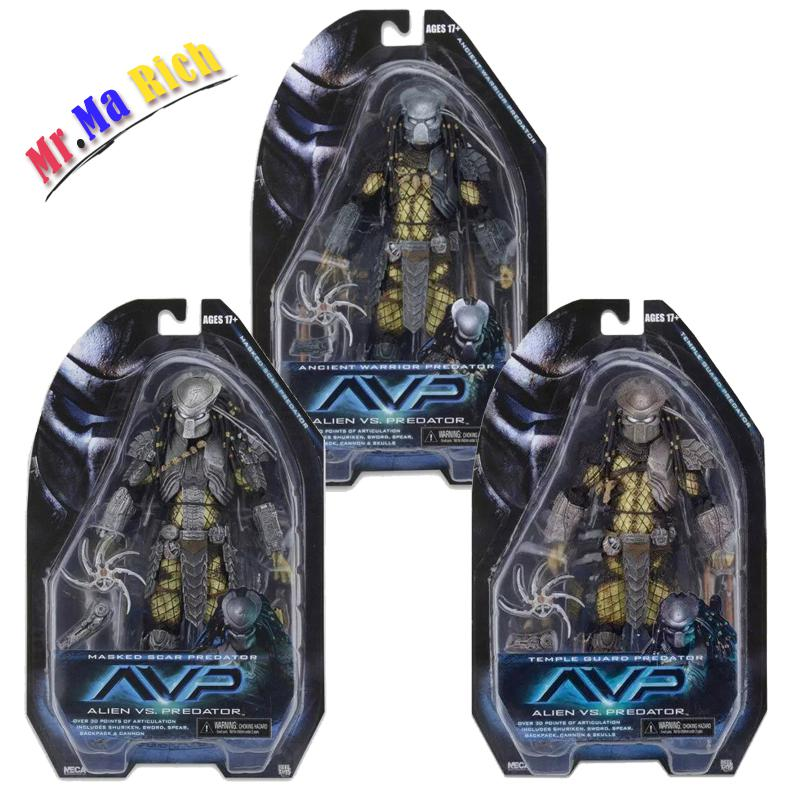 Film Avp Aliens Vs Predator Maskeli Antico Guerriero Cicatrice Guardia Del Tempio Action Figure Da Collezione Model Oyuncak Bebek