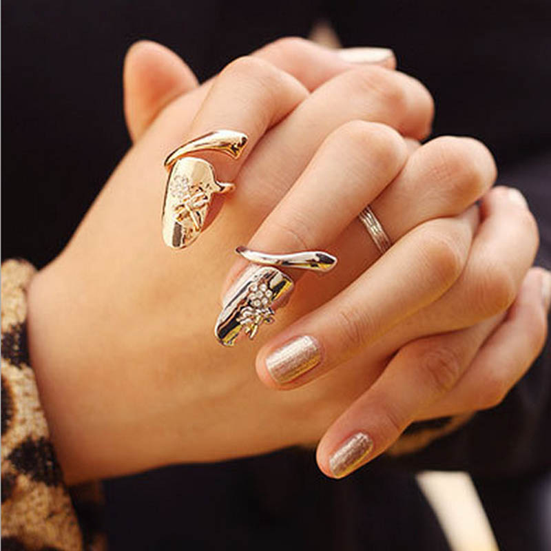 Fashion Punk Finger Nails Ring Summer Style Gold Silver Plated With Rhinestone Dragonfly Women Fine Jewelry 88 KQS