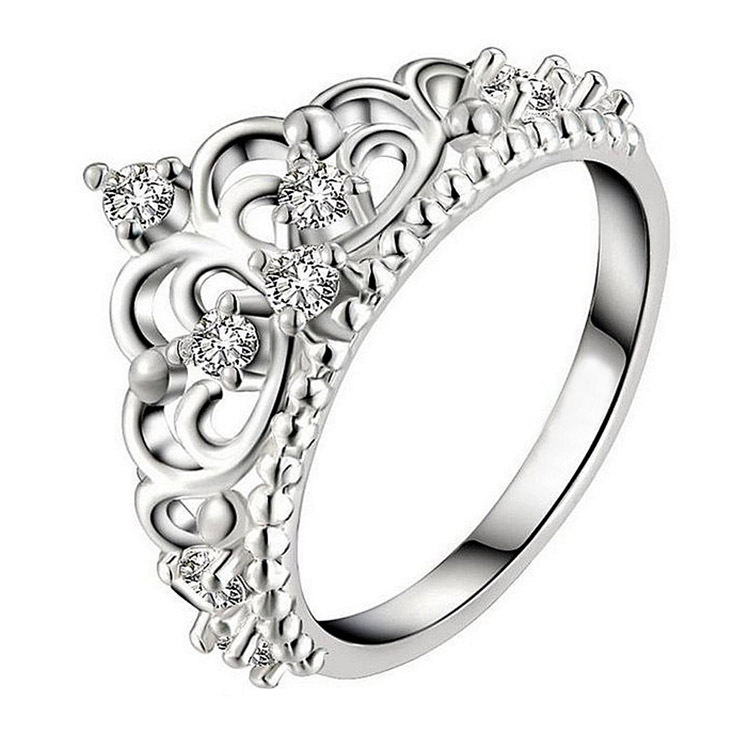 New Princess Style Cute And Sweet Crystal Inlaid Crown Ring Color Silver Color Party Birthday And Gift Choice