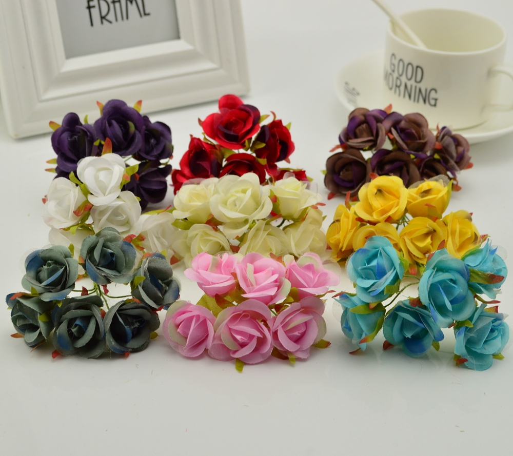 6pcs high quality Silk roses For Wedding Banquet decoration diy Handmade wreath scrapbooking Artificial Flowers for Home