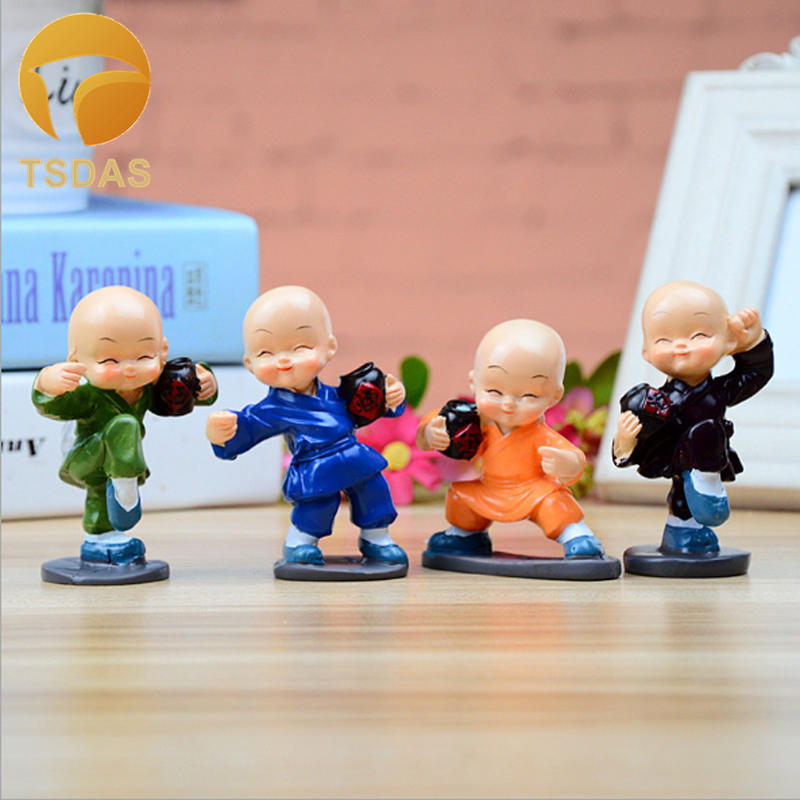 New 4pcs/set Drunken Master Resin Doll Buddha Car Ornaments Resin Toys Decoration Shaolin Temple Monks Dolls